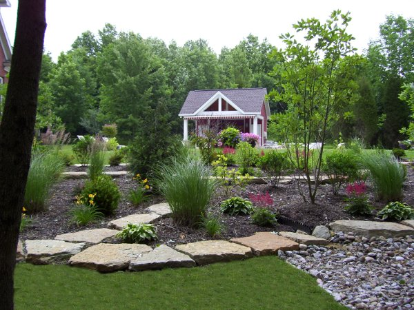 Residential landscaping with rock integration