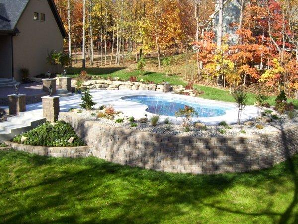 Hardscape around pool