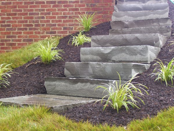 Natural stone steps with landscaping
