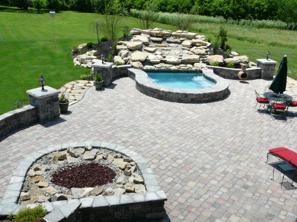 Paver patio, water feature and firepit