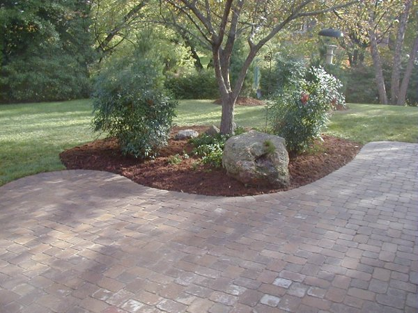 Paver patio with landscaping