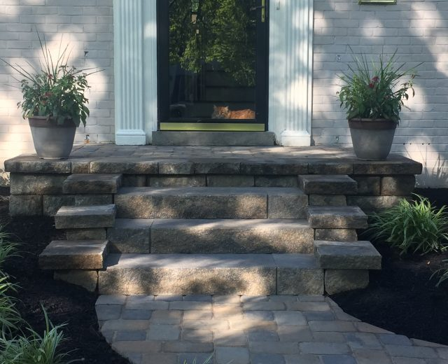 Front porch steps, walkway and landscaping