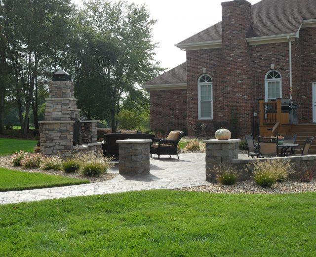 Backyard, patio and fireplace