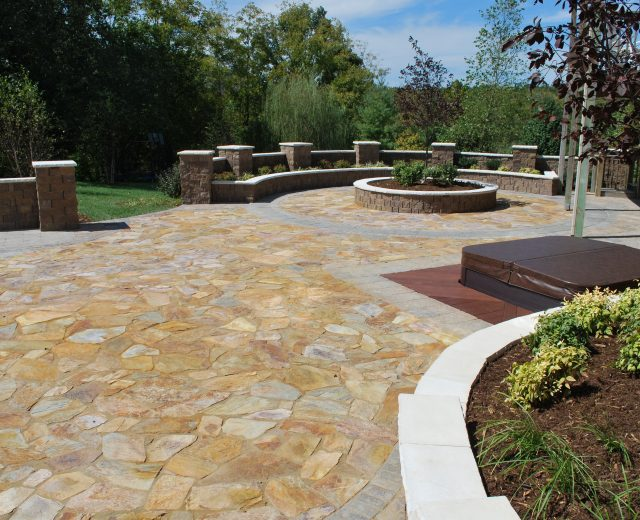 Patio, seating and landscape