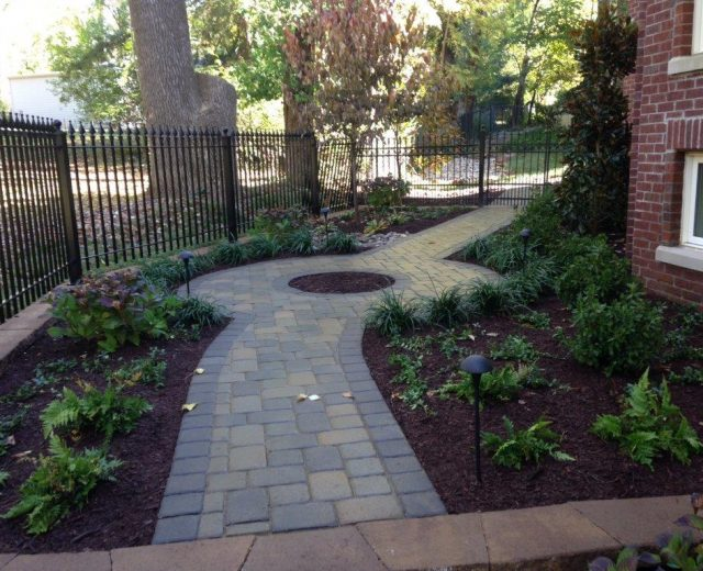 Paver path with landscaping