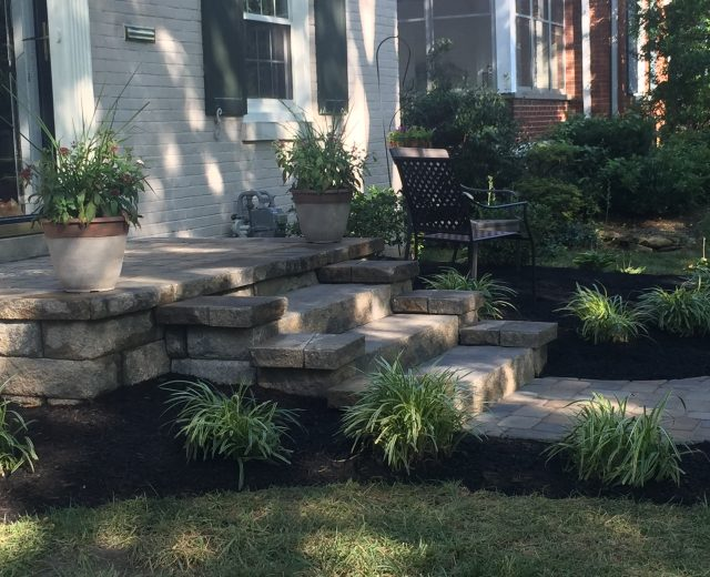 Front yard landscape, steps and walkway